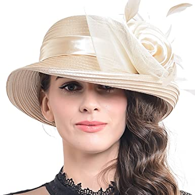 ac311fbd83e24 FORBUSITE Church Hats for Women Tea Party Dress Hat for Ladies Apricot