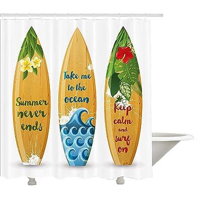 Vintage Hawaii cortina de ducha por yeuss, de madera Tabla de surf con citas sobre