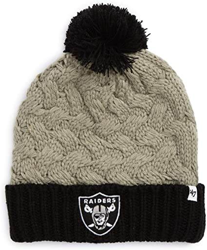 Amazon Com 47 Los Angeles Raiders Women S 2 Tone Matterhorn Beanie Hat With Pom Nfl Oakland Ladies Cuffed Winter Knit Cap Clothing