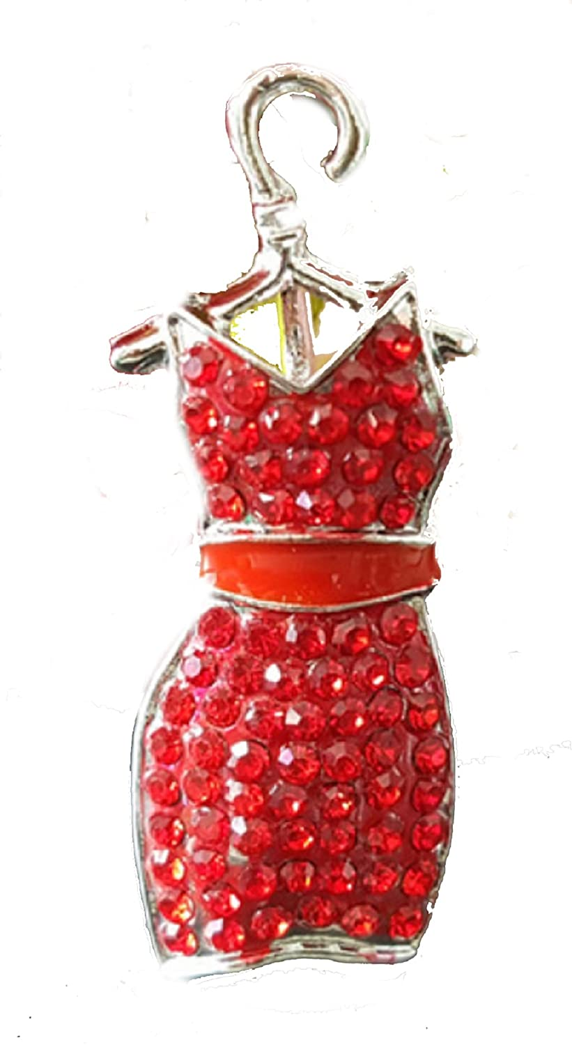 From the Heart FASHION DESIGNER Red DRESS Brooch Pin is Embellished with RED Crystal Rhinestones Produced 1@ a time Nice Gift for Your Fashion Consultant