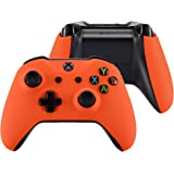 eXtremeRate Orange Soft Touch Top Shell Front Housing Faceplate Replacement Parts with Side Rails Panel for Xbox One X…