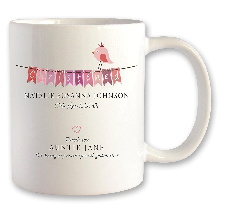 Personalized mugs cheap uk - Personalised Christening Godparent Mug Gift Idea Pink Bunting Design Amazon Co Uk Kitchen Home