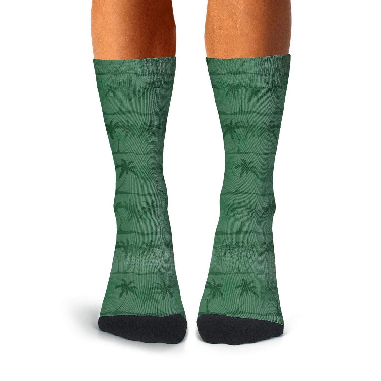 Floowyerion Mens Green palm trees Novelty Sports Socks Crazy Funny Crew Tube Socks