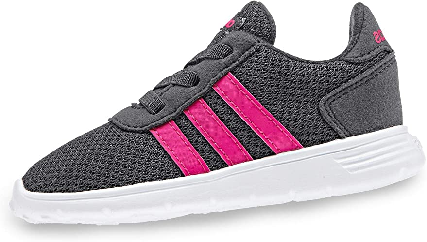 adidas Lite Racer Infant Kids Girls Sports Trainer Shoe Grey/Pink