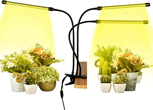 Plant Grow Lights Full Spectrum 30W LED Plants Sunlight Plant Lamp with 3 Heads and Adjustable Gooseneck Timer Function 3 6 12h Growing Lights for Indoor Seedlings Vegetables Flowers