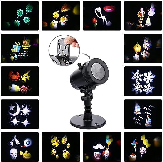 QIANGUANG Lámpara de proyector LED, 14 patrones Giratorio ...