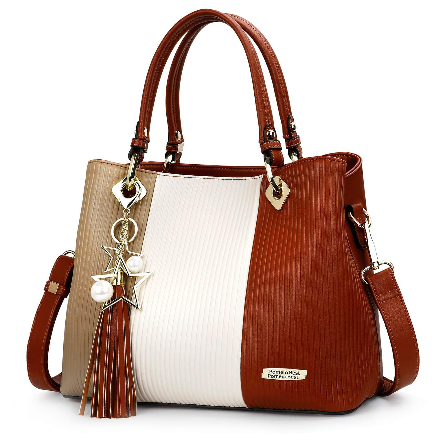 Handbags for Women with Multiple Internal Pockets in Pretty Color Combination (Brown/White/Coffee)