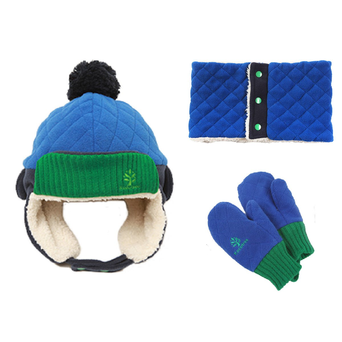 Triwonder Little Boys Girls Toddlers Winter Warm Fleece Flap Hat Scarf Mittens Set (M(1-5 years old), Navy Blue) OS1102NB-M