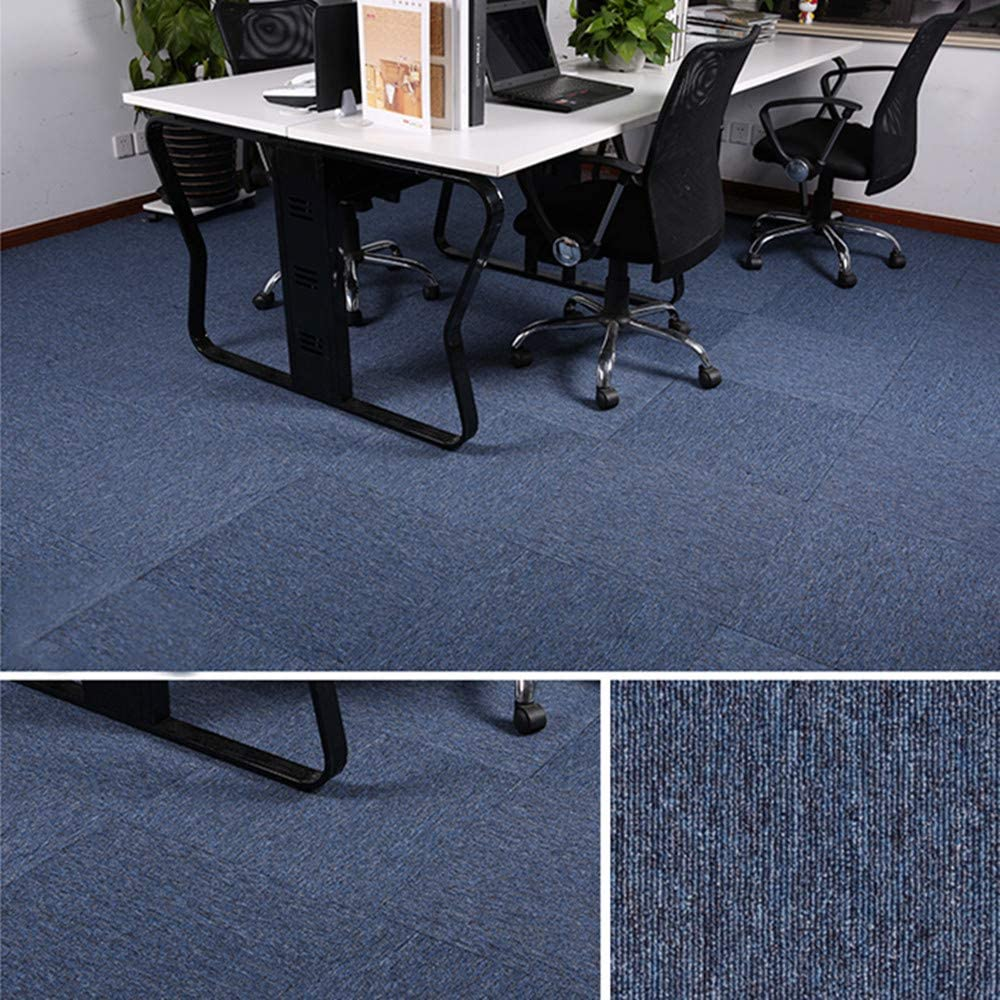 Carpet Tiles Commercial Carpet Tiles Carpet Floor Tiles Carpet Tile 20x20inch for Bedrooms Living Rooms Kids Rooms Office Decor with Anti-Slip Asphalt Bottom Backing Blue Grey 32Tiles