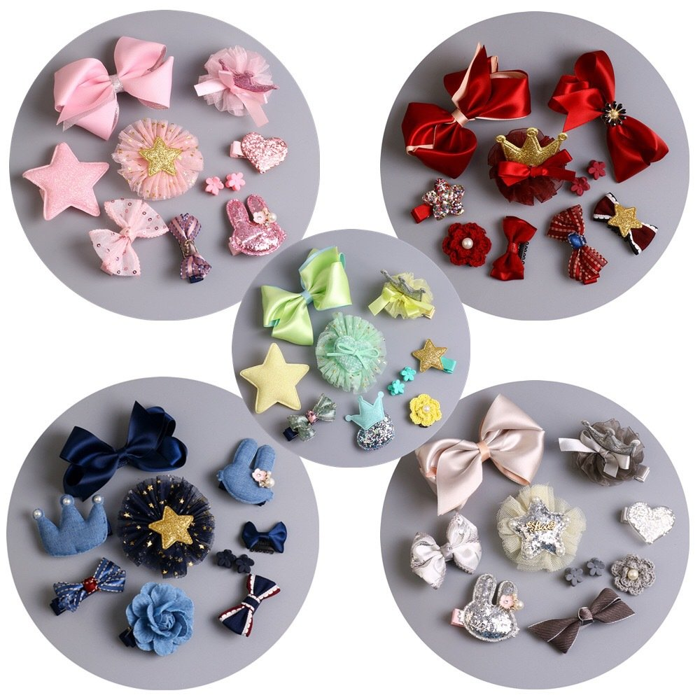 QUMY Dog Hair Clips Mixed Styles Varies Patterns Bows Pet Hair Accessories Grooming Product Hair Clips for Little Girls 10 Piece