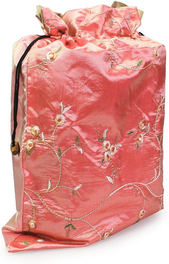 kilofly Embroidered Silk Jacquard Travel Bag Lingerie /& Shoes Value Set of 2