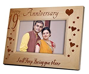 Tied Ribbons '19th Parent's Aniversary' Photo Frame (Wood, 22.1 cm x 1.27 cm x 17.27 cm)
