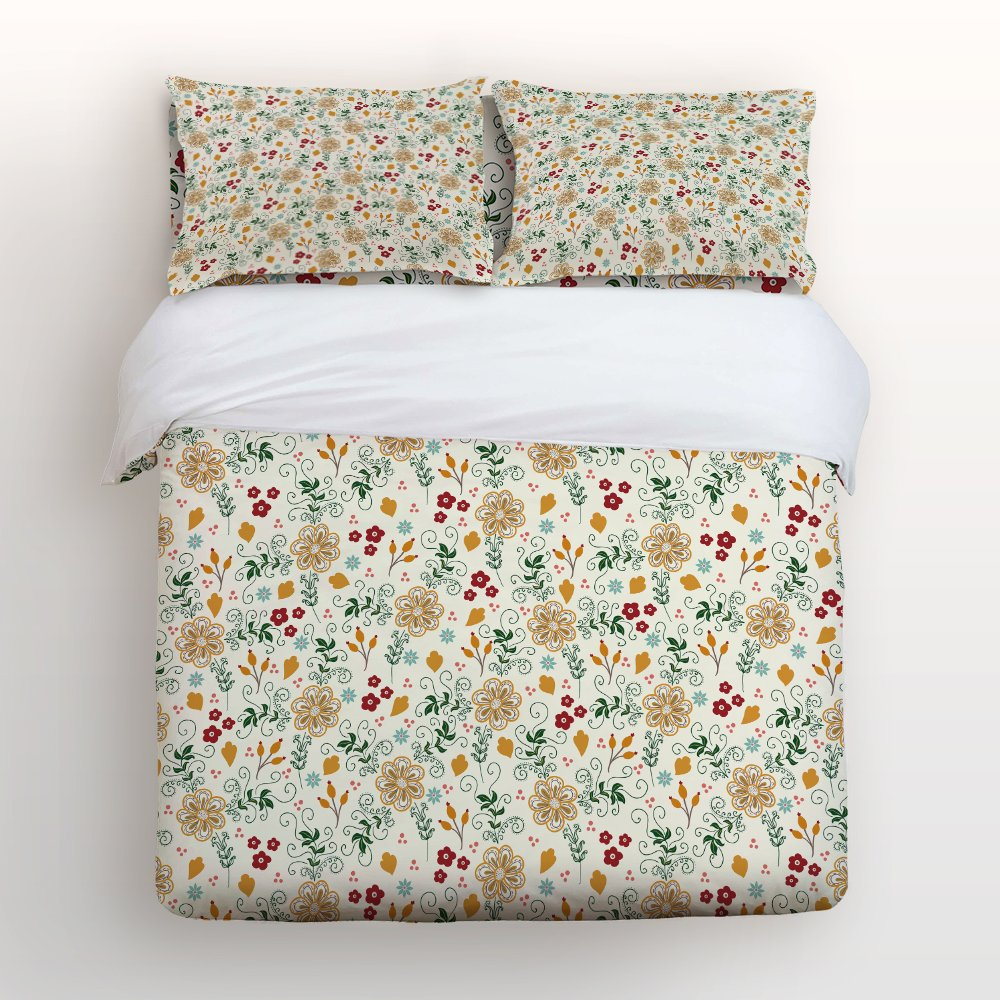 Libaoge 4 Piece Bed Sheets Set, Classic Flowers Leaves Print, 1 Flat Sheet 1 Duvet Cover and 2 Pillow Cases