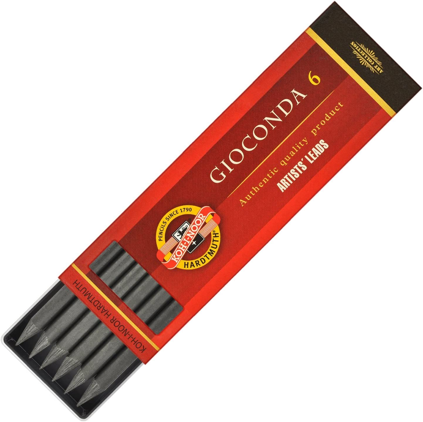 Koh-I-Noor Gioconda 5.6 mm, Set of 6 Leads for Artists' Drawing. 4865 6B