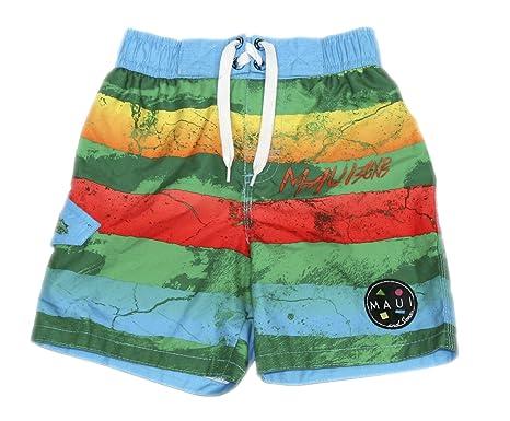 32f3a0d04a Maui & Sons Boys Collage Swim Trunk Board Short Swimwear (Green/Blue, ...
