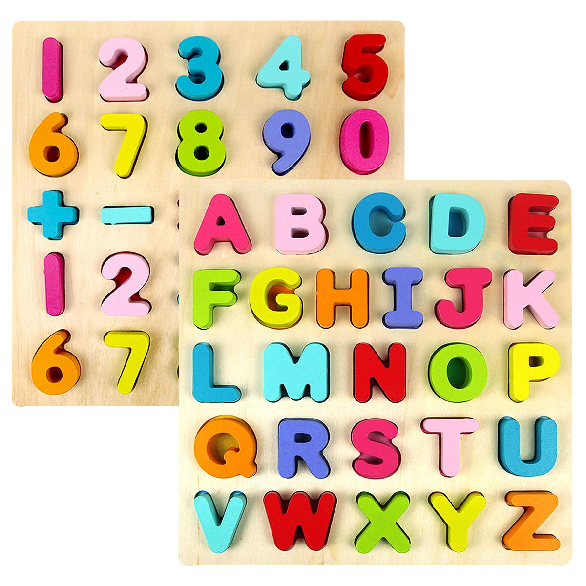 Kids Wooden Alphabet Number Puzzle Set, Alphabet ABC Numbers 123 Learning Puzzles Board, Preschool Educational Puzzles Montessori Toy Gift for 1 2 3 Year Olds Toddlers Baby Girls Boys by Blppldyci