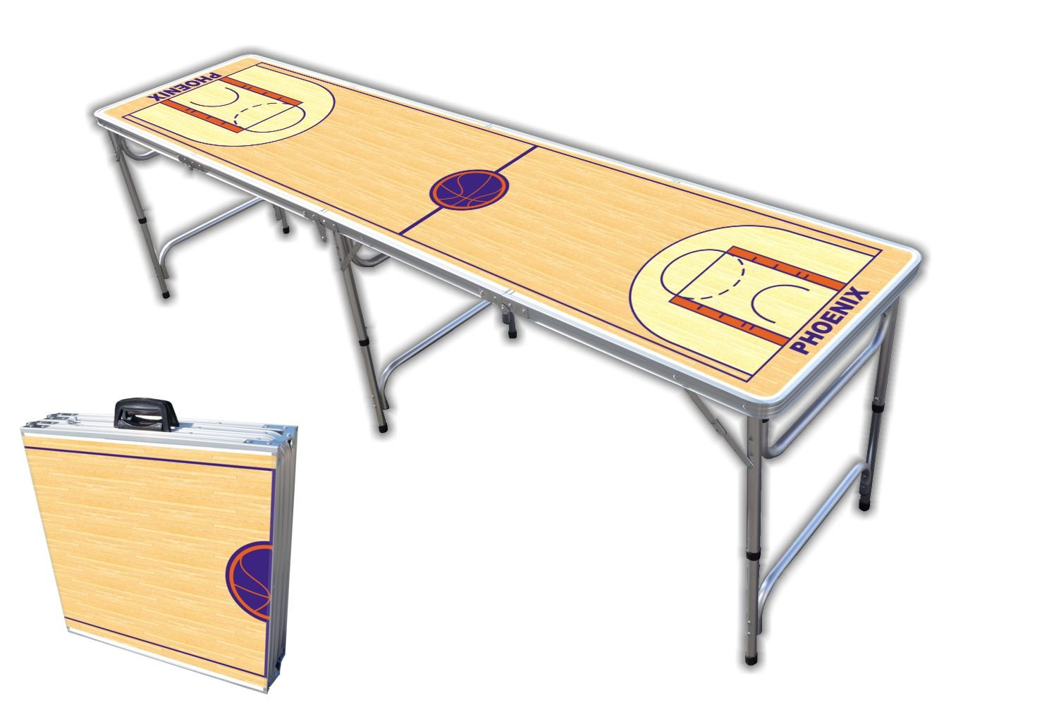 8-Foot Professional Beer Pong Table - Phoenix Basketball Court Graphic by PartyPongTables.com