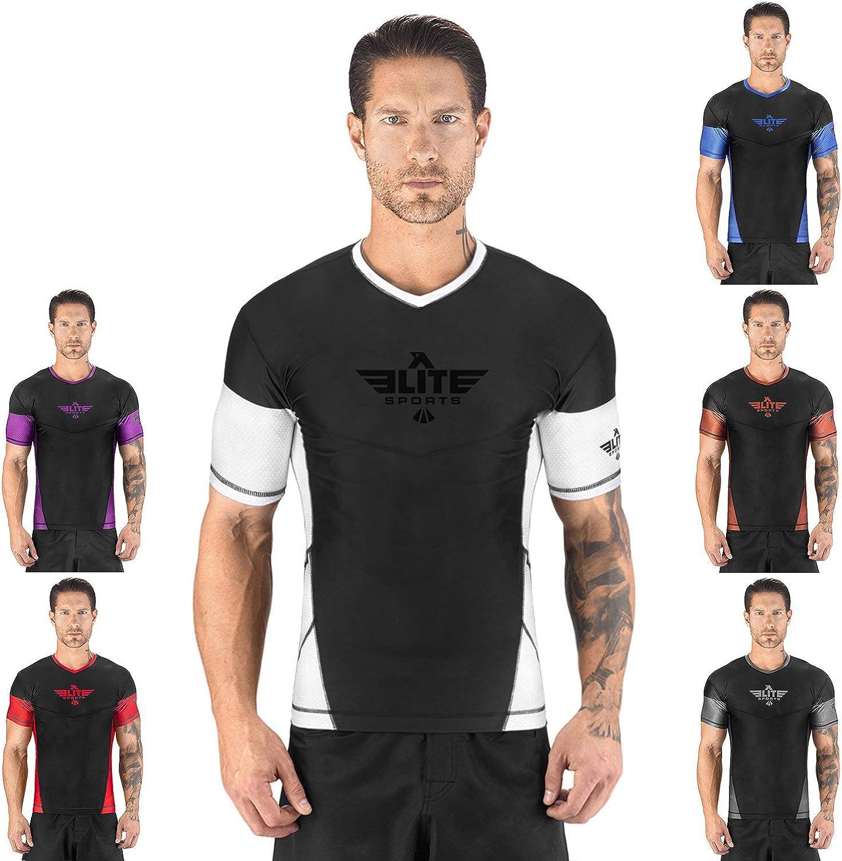 Elite Sports New Item Short Sleeve Compression, Mma, Bjj, No-Gi, Cross Training Rash Guard, XX-Large, Black/White