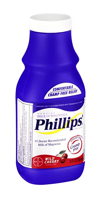 Phillips Milk of Magnesia Wild Cherry Saline Laxative, 12 FZ (Pack of 4)