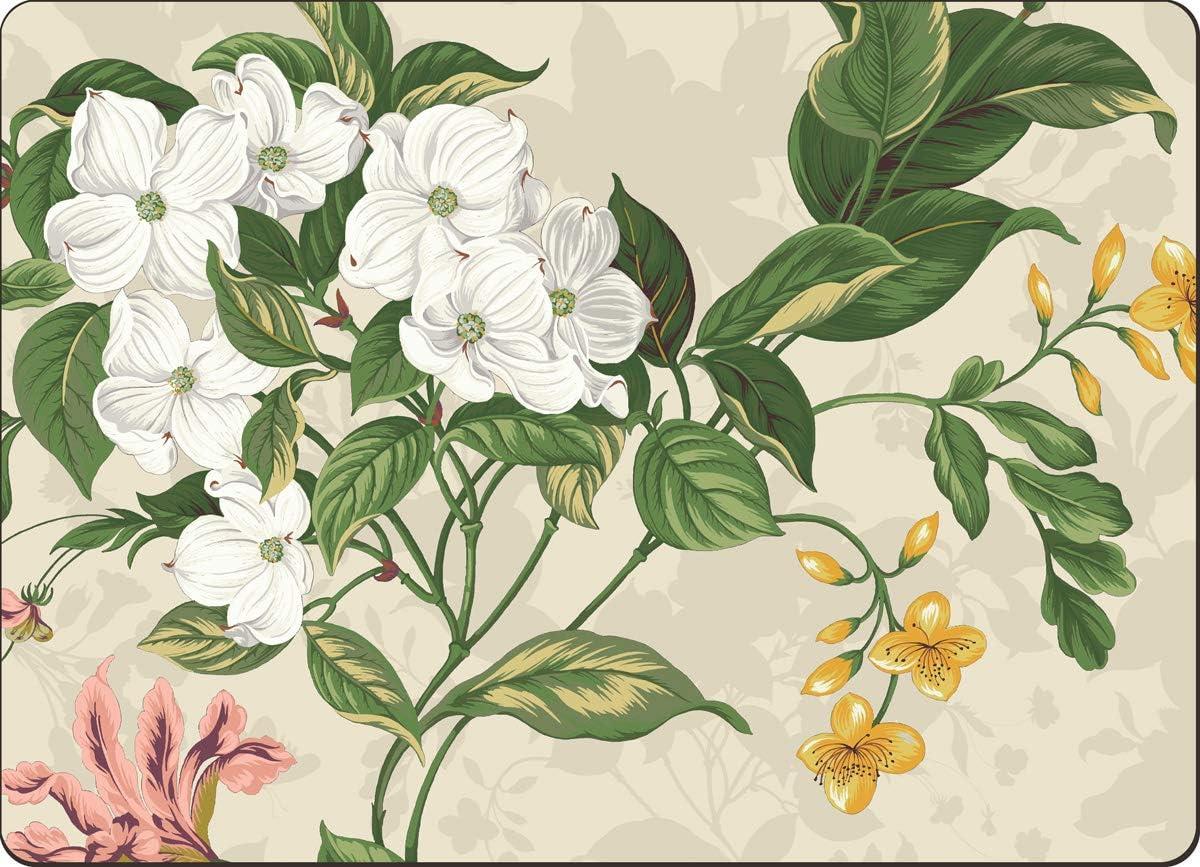 4 Cala Home Premium Hardboard Placemats Table Mats, Garden Images Natural