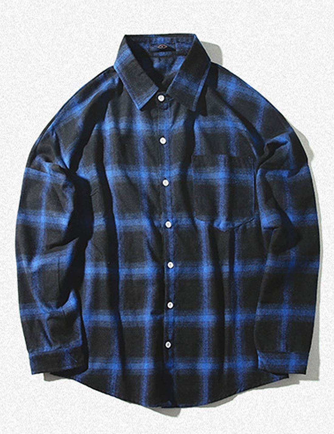 Omoone Mens Button Up Long Sleeve Fleece Lined Casual Loose Plaid Shirt Jacket