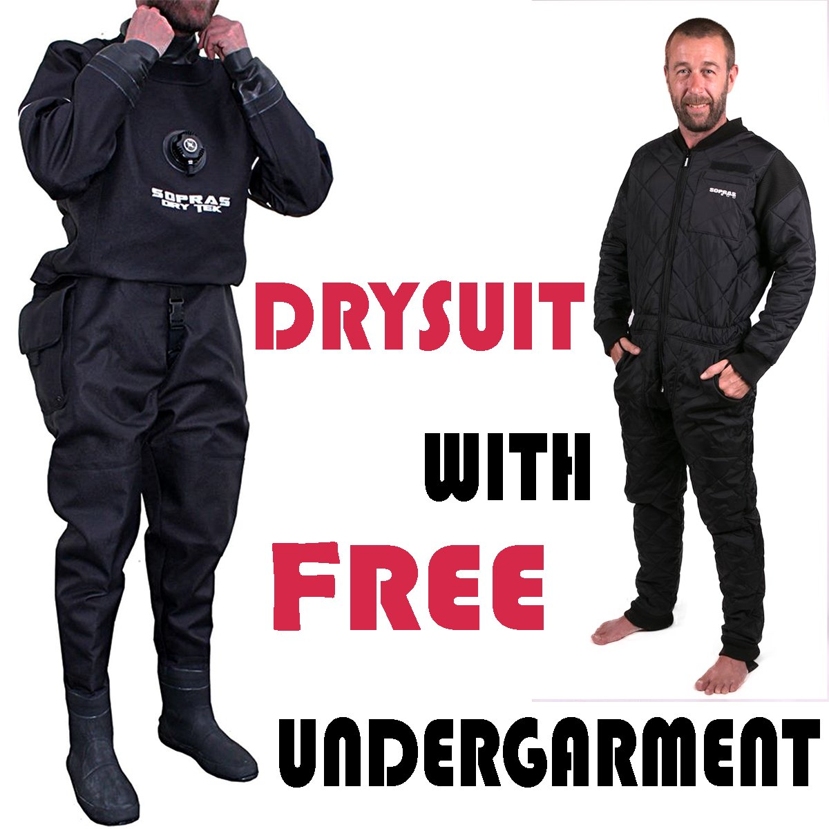 Sopras Sub Trilaminate DryTek with back zipper Size X-Large with Boots Size 10 Technical Dry Suit NOW WITH FREE UNDERGAMENT