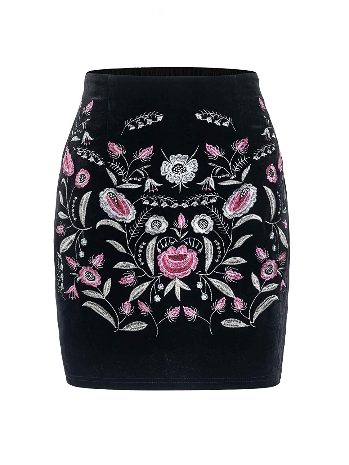 4907e0486 BerryGo Women's High Waist Embroidered Mini Skirt Boho Floral Pencil Skirt:  Amazon.ca: Clothing & Accessories