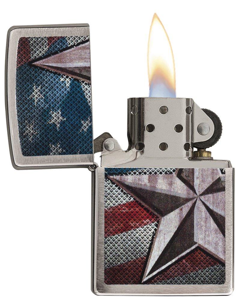 Zippo American Flag Star Pocket Lighter, Brushed Chrome by Zippo (Image #3)
