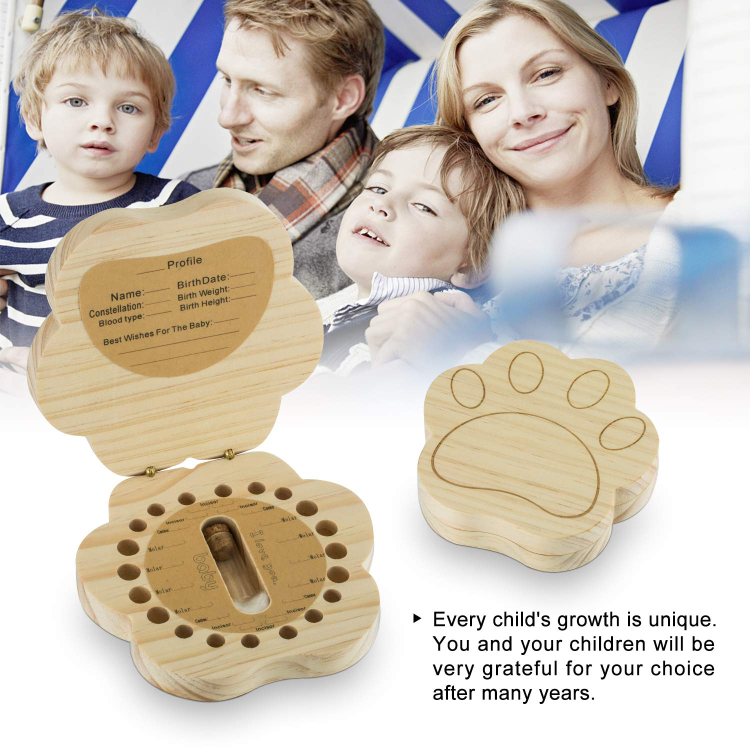 Baby Tooth Fairy Box Keepsake First Teeth Holder Wooden Lost Deciduous Tooth Collection Organizer Storage for Kids Memory Cat Claw