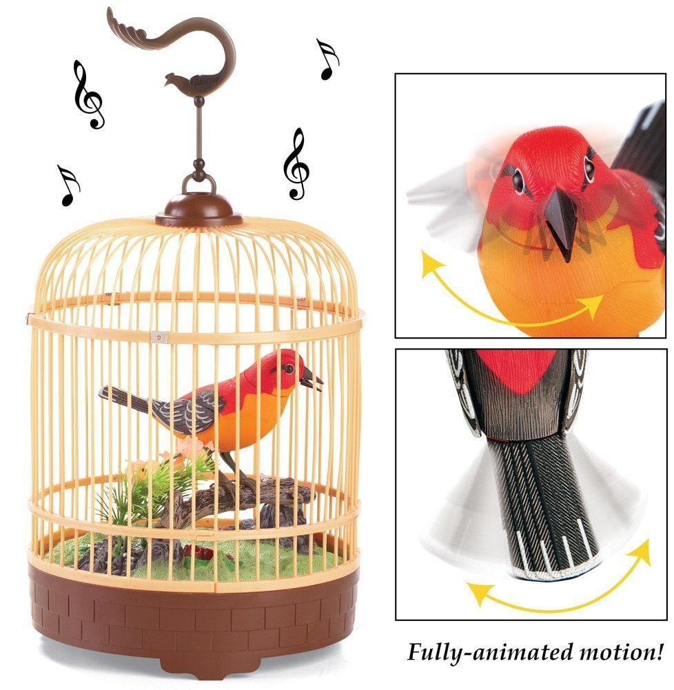 Liberty Imports Singing & Chirping Bird Toy in Cage | Realistic Sounds & Movements | Sound Activated by Liberty Imports (Image #2)