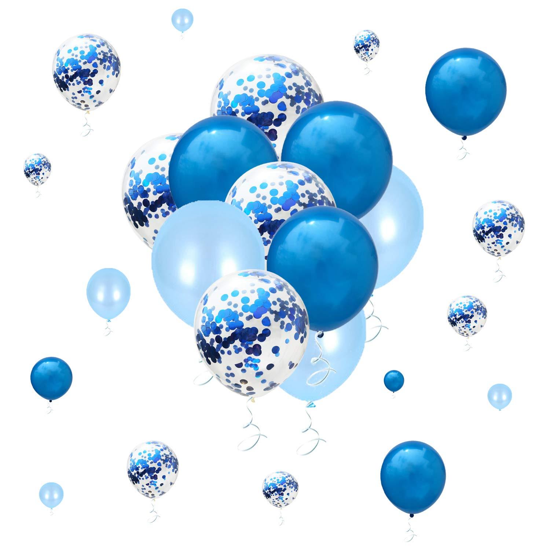 メタリックブルーバルーン 紙吹雪 ブライダル ベビーシャワー バチェロレッテ 誕生日パーティー デコレーション   B07PXK9P8W