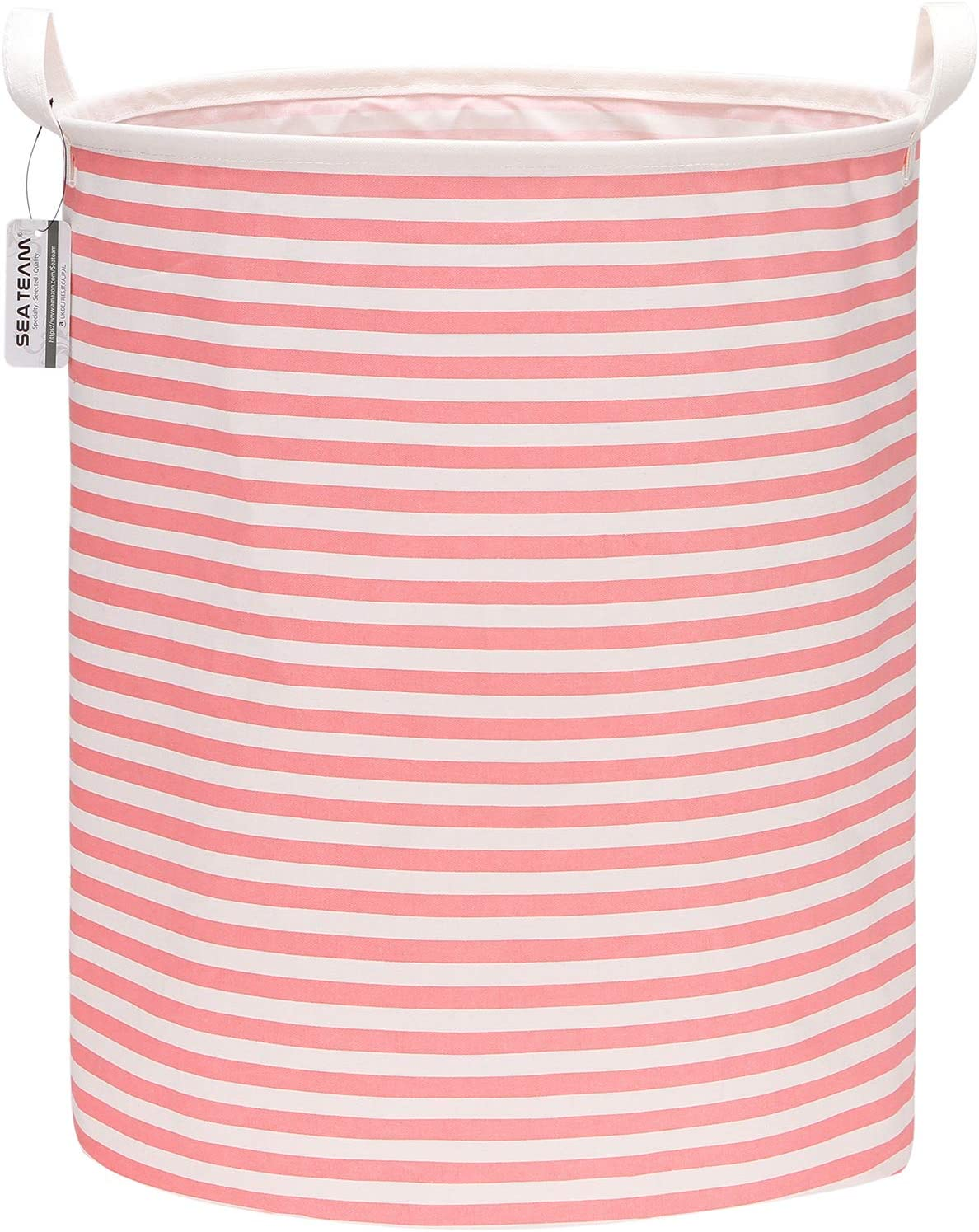 "Sea Team 19.7 Inches Large Sized Waterproof Coating Ramie Cotton Fabric Folding Laundry Hamper Bucket Cylindric Burlap Canvas Storage Basket (19.7"", Pink & White Stripe)"