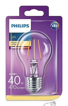 Philips bombilla LED estándar de filamento, efecto vintage, casquillo gordo E27, 4.3 W