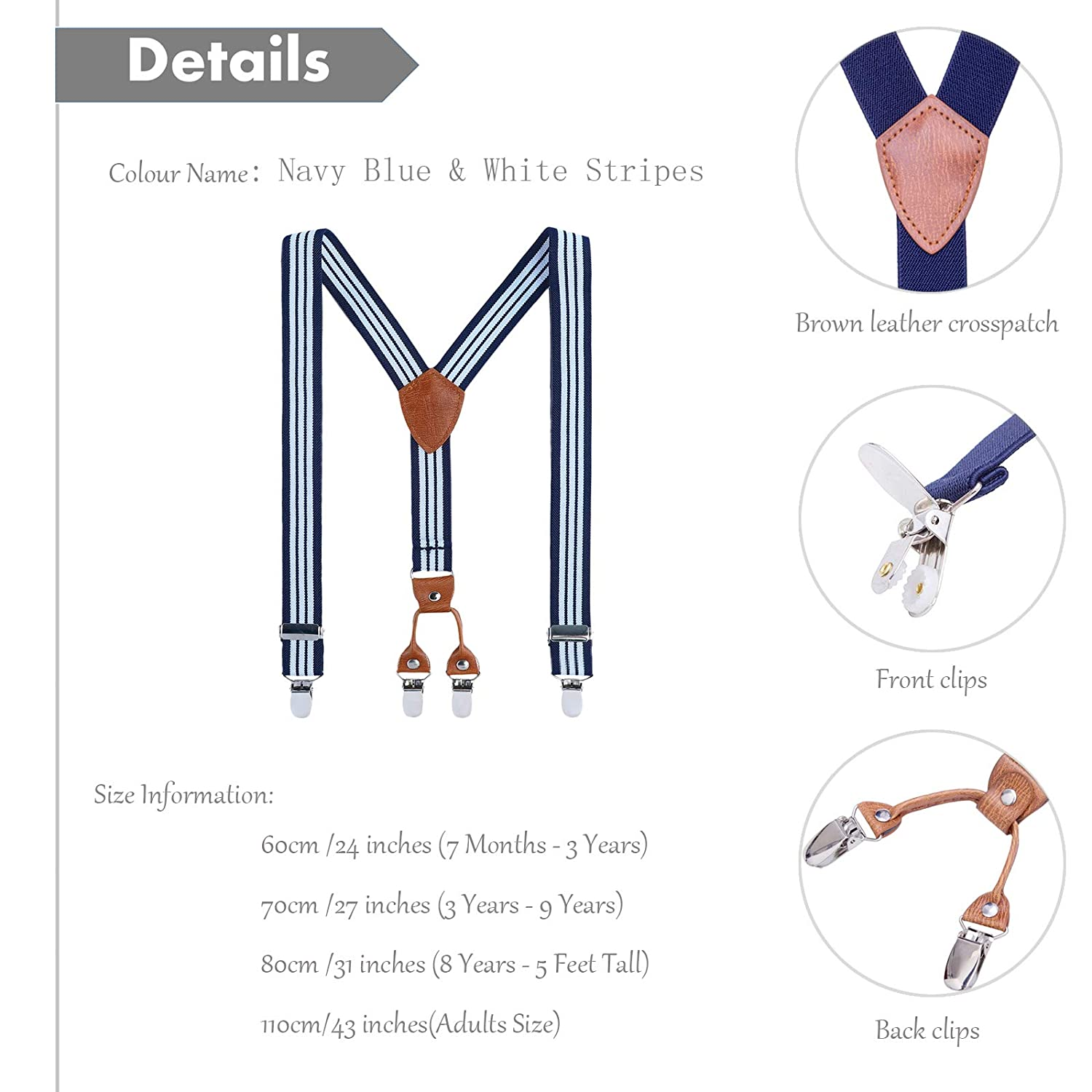 Navy blue,27 inches 3 Years - 9 Years AWAYTR Boys Men Y-back Suspender- 1 Inch Elastic Adjustable Boy Suspenders with 4 Sturdy Clips Brown leather