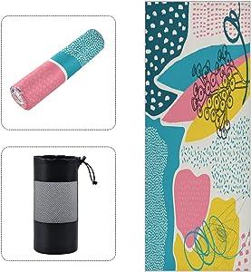 Golden Geometric Figure Hot Pink Hot Yoga Mat Towel Non Slip for Pilates, Workout, Gym, Outdoor Fitness