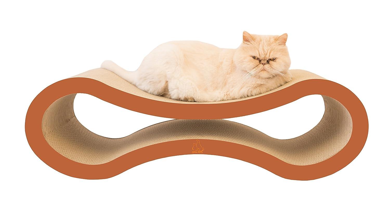 "Epik Pets Modern Cat Scratcher Lounge - 34"" x 10"" Purple Version - Premium Cardboard Scratcher With Catnip"