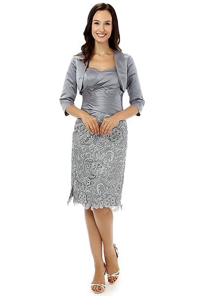9f5217b6b430 Engerla Donna Sweetheart Pizzo Floreale Abito Madre della Sposa Vestito con  Giacca Gray 46