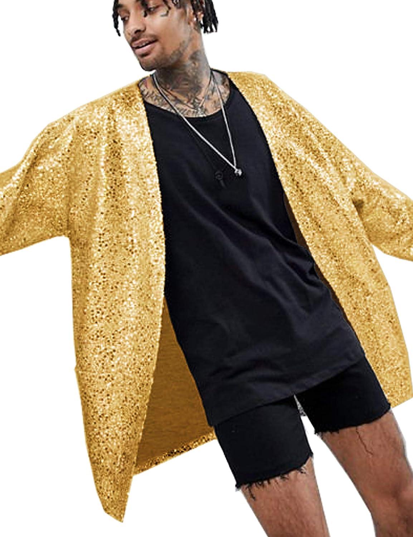 COOFANDY Men's Sequin Cardigan Halloween Party Nightclub Hip Hop Stylish Open Front Cape Cloak