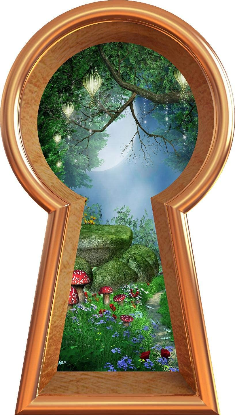 "12"" Bronze Keyhole 3D Window Wall Decal Enchanted Lantern Forest Alice in Wonderland Kids Room Decor Fantasy Mushroom Fairy Tale Removable Vinyl Wall Sticker - 12"" Tall x 6.8"" Wide"