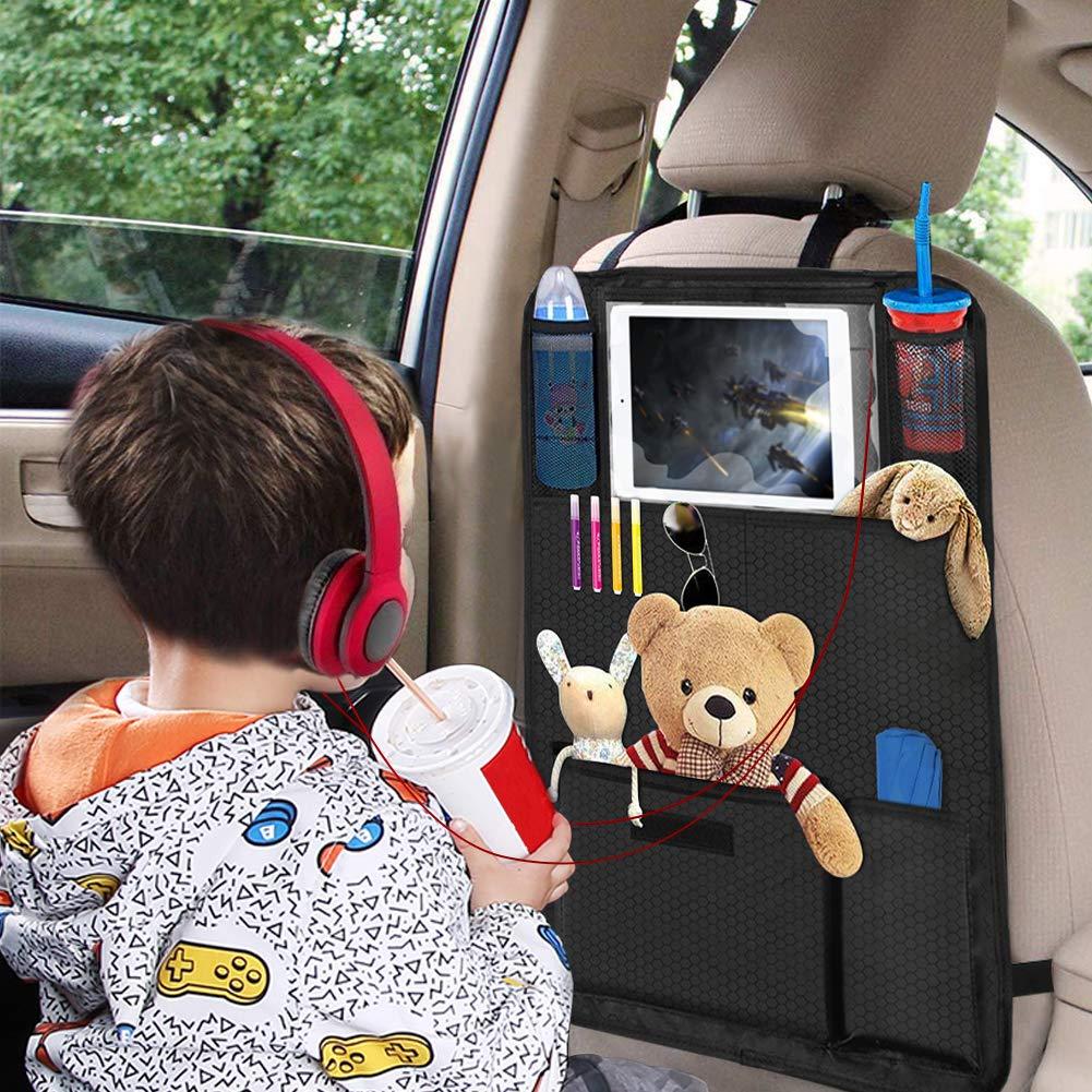 2 Pezzi Proteggi Sedile 7 X Tasche Organizer Bambino per Sedile Auto 420D Panno di Oxford Impermeabile Durevole Supporto Trasparente per 10.1 Tablet 46X67CM Mkocean Protezione Sedile Auto Bambini