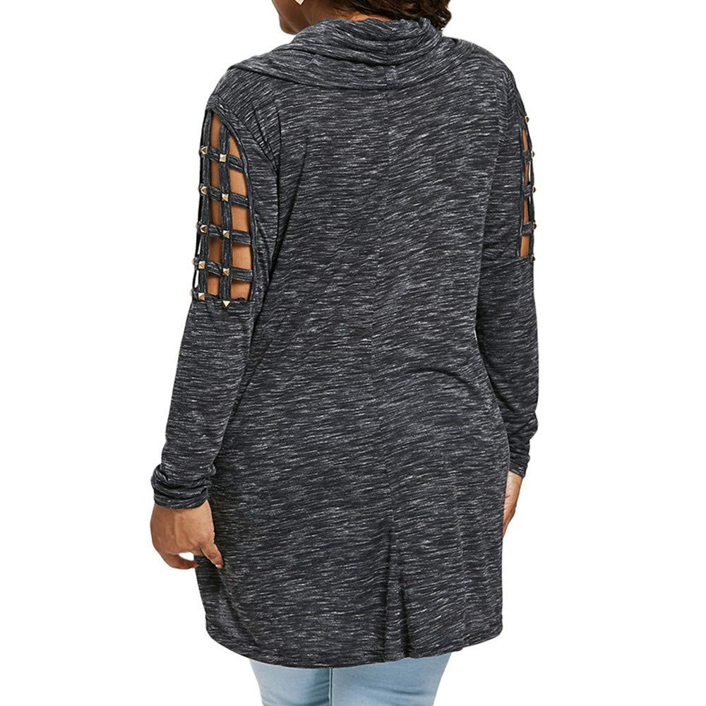 Rimedtsv-Women Cowl Neck Tunic Top Hollow Out Long Sleeve Casual T-Shirt Oversized Plus Sise Pullover Sweatshirt