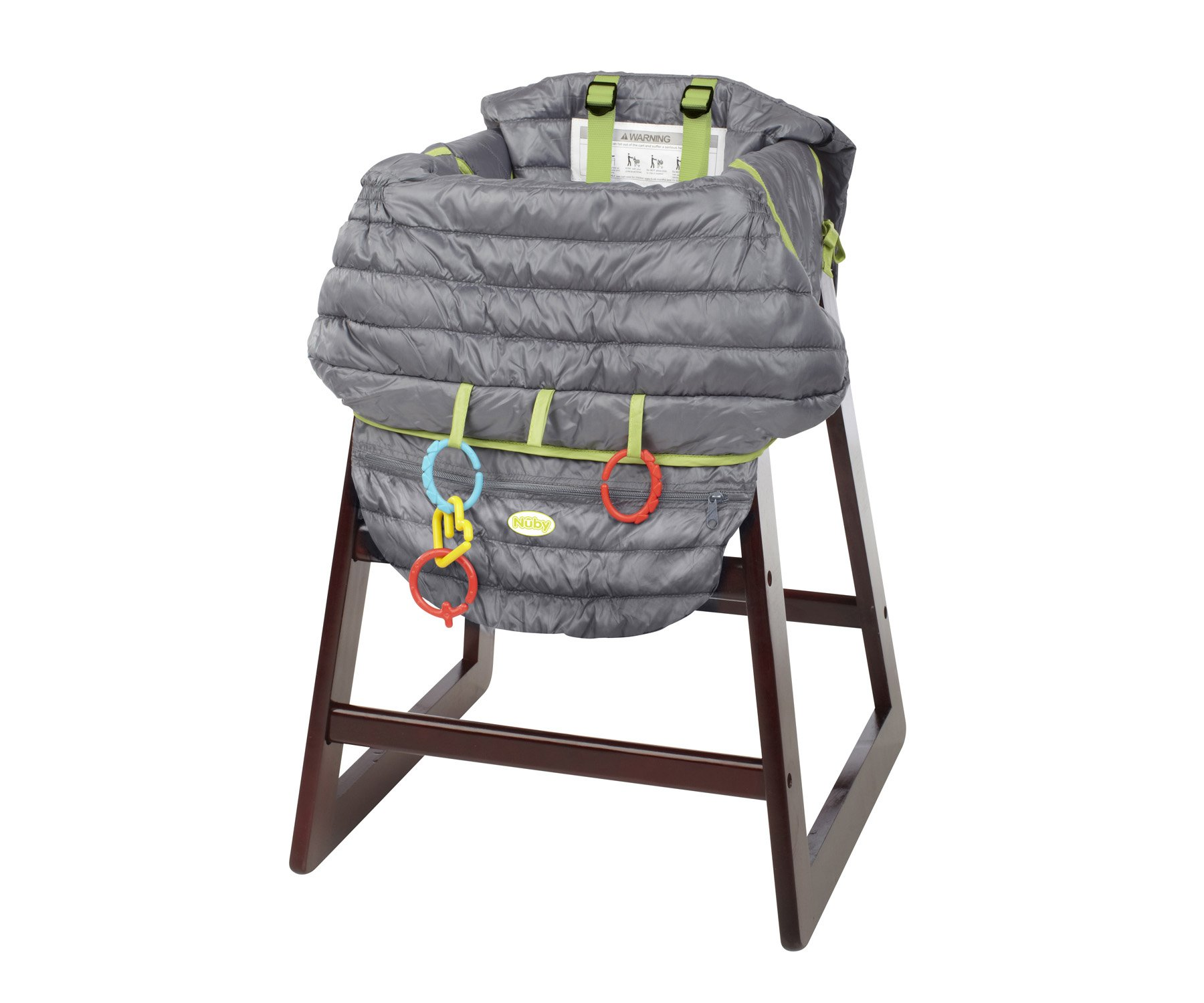 Nuby 2-in-1 Universal Size Quilted Shopping Cart and High Chair Cover, Grey by Nuby (Image #3)