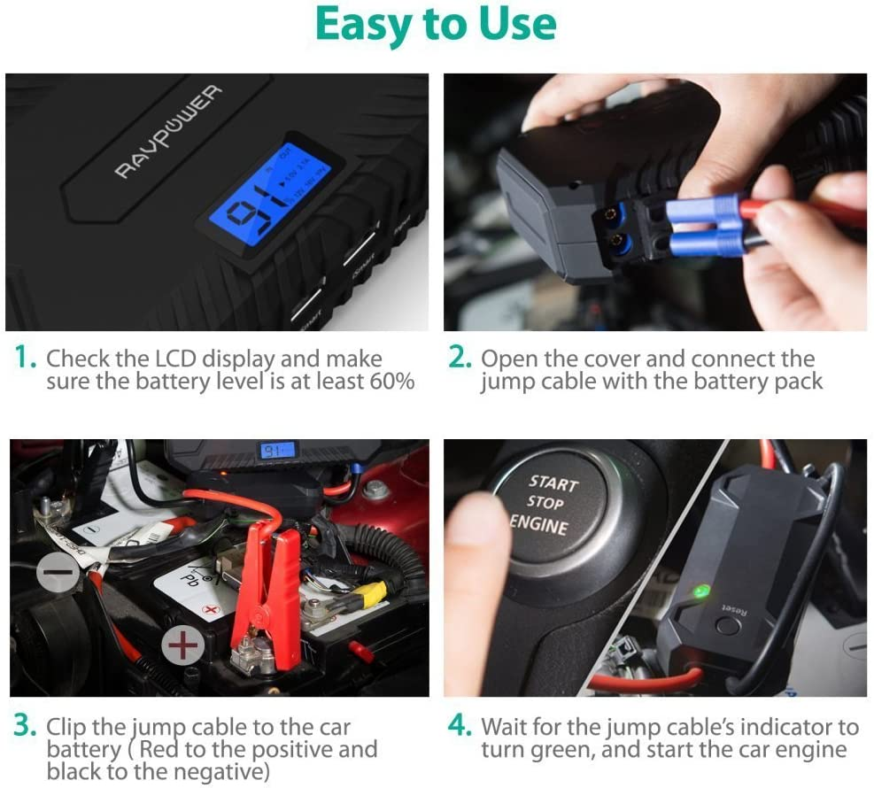 Power Bank with 2.4A iSmart Ports Built-in LED Flashlight Car Battery Booster for All 12V Gas /& Diesel Engines up to 7L Car Jumper Starter 1000A RAVPower Peak Current Quick Charge 3.0 12V 14000mAh