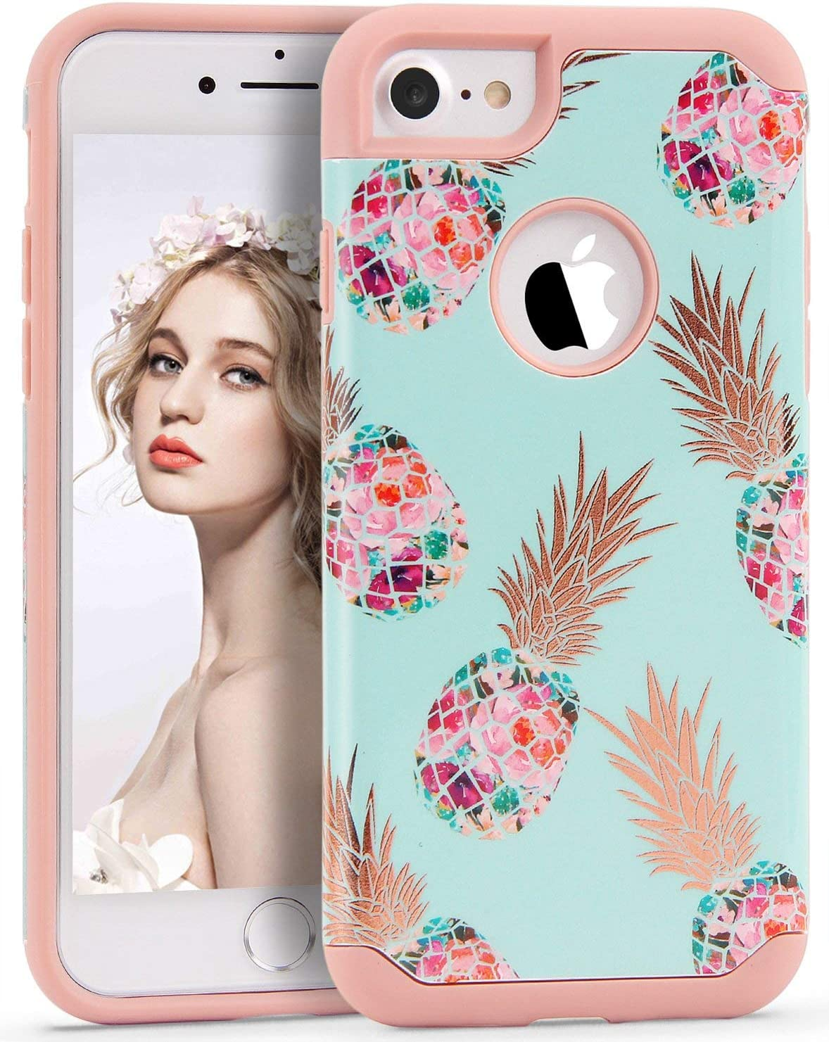 Imikoko iPhone 7/8 Case Pineapple, Hybrid Protective Heavy Duty Hardshell Case Floral Hard Scratch Proof Case Hard PC with Durable TPU Cute Protective Case for iPhone 7/8