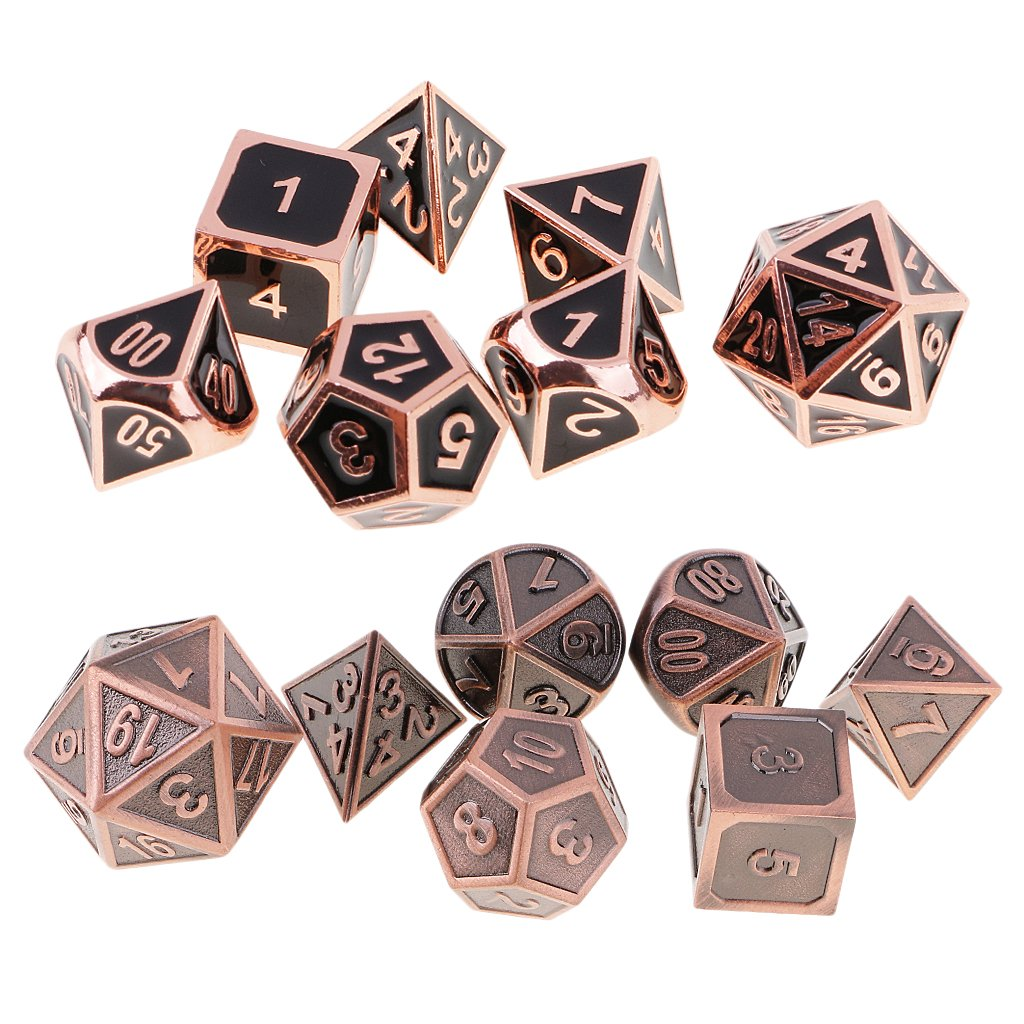 Homyl 14 Pieces Zinc Alloy Multi-Sided Dices D20 D12 D10 D8 D6 D4 for Party Club Casino Board Game Supplies