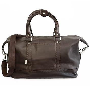 Grand sac de voyage / sac de week-end taille L en cuir nappa, pour hommes et femmes, noir, Jahn-Tasche 697