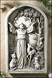 Religious Gifts Patron of Animals Saint Francis of Assisi Resin Garden Plaque, 13 Inch