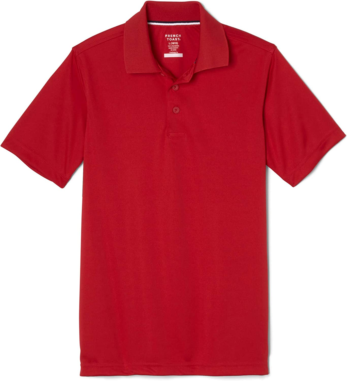 French Toast Boys' Short Sleeve Moisture Wicking Stretch Sport Polo Shirt: Clothing
