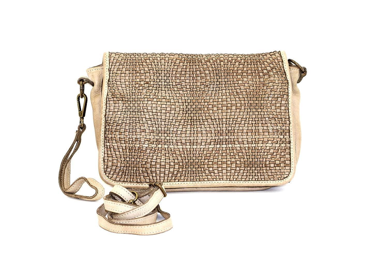 A. Taupe DDMilano Women's Crossbody Italian Genuine Leather Shoulder Bag