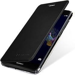 StilGut Berlin Book Type Case, Custodia per Huawei P8 Lite 2017 con NFC/RFID Blocker in plastica Trasparente con Patta in Pelle Nappa. Nero/Trasparente